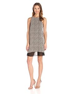 BCBGeneration Womens Blocked Hem Tent Dress Black Combo 4 -- See this great product. (This is an affiliate link and I receive a commission for the sales)