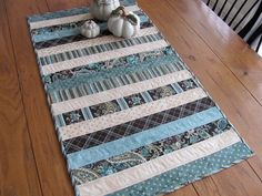 Quilted Table Runner Sea Foam Green and by HiddenLakeHomespuns