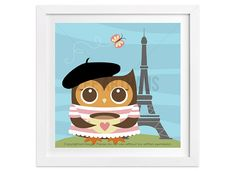 238 Owl Wall Art  Girl Owl in Paris Wall Art  Owl by leearthaus
