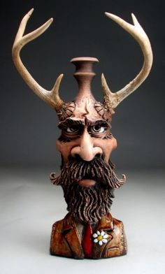 Grafton Pottery | Mitchell Grafton | Face Jug with Deer Antlers | folk art pottery | raku sculpture by Grafton