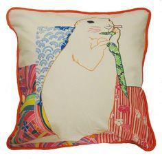 Hand Painted Organic Pillow Cover - Prairie Dog. $120.00, via Etsy.