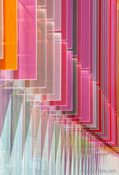 Coloured glass fins of Oxford University Biochemistry Building, Oxford, UK. Architects: Hawkins Brown, Built 2008. |