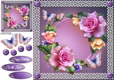 Beautiful Spring Roses With Butterflies 8x8   Craftsuprint