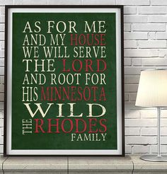 """Minnesota Wild Personalized """"As for Me"""" Art Print"""