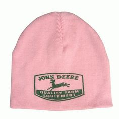 9a71e18308408 John Deere Pink Beanie Hat w  Vintage Logo