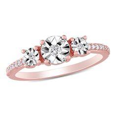 Diamond Three-Stone Engagement Ring in Rose Plated Sterling Silver Three Stone Engagement Rings, Antique Engagement Rings, Engagement Ring Settings, Diamond Anniversary Rings, Diamond Wedding Bands, Halo Diamond, Thing 1, Diamond Sizes, Silver Jewelry