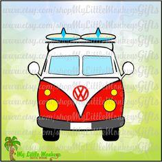 Vintage VW Surf Camper Van Front Design Digital Clipart Instant Download Full Color 300 dpi jpeg, png, svg, eps, dxf Format - pinned by pin4etsy.com