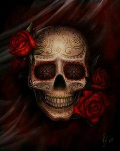Sugar skull art (with red roses) Sugar Skull Tattoos, Sugar Skull Art, Sugar Skulls, Mexican Skull Tattoos, Mexican Skulls, Mexican Art, Lapin Art, Catrina Tattoo, Totenkopf Tattoos