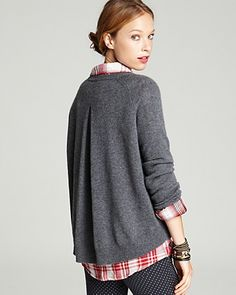 Aqua Cashmere Sweater - Inverted Back Pleat Pullover   Bloomingdale's
