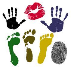 Huellas y rastros humanos, vectoriales tales como: huellas de pisadas, de manos, digitales y besos.