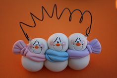*POLYMER CLAY ~ Personalized Clay Snowman Family of THREE Ornament (Girl Child)