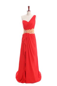 Natural waist sweep/brush train sleeveless chiffon elegant bridesmaid gown