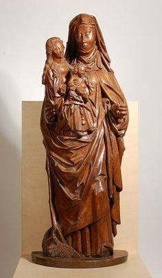 Ste Anne Trinitaire. auteur inconnu 1480-1520 -- hauteur: 72 cm, largeur: 28 cm chêne personne Enfant Jésus, la Vierge Marie numéro d'inventaire B00612 partie collection sculpture configuration / source Musée de Breda