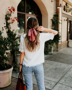 How to Style Bows In Your Hair With Scarf - Hair scarf styles - Hair Scarf Styles, Long Hair Styles, Bun Styles, Ponytail Styles, Cute Hair Styles Easy, Scrunchies, Hair Inspo, Hair Inspiration, Travel Inspiration