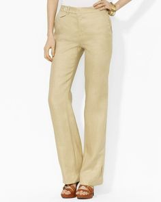 $159 Ralph Lauren Devrouax Springtime Tan Linen Silk Pants Slacks