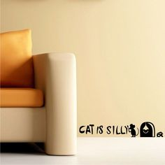 Cat Is Silly Mouse Hole Cheese Wall Decal Sticker Children Decor Vinyl Sticker in Home & Garden, Home Décor, Decals, Stickers & Vinyl Art | eBay