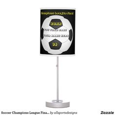 Soccer Champions League Final In White Desk Lamp Custom black and white lamp. With a soccer black and white football . With a black background. you have a place for your Name of player's, Number of jersey, Name of team, and the Year on it. whiteand black desk lamp. Background color can be change to team color. The yellow and white text can be changed as well. This light is great for a gift. Delete any or all text. IMPORTANT Personalize each soccer night light, ONE at a Time, ADD that case to…