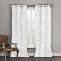 Harris White 84 x 38 In. Two-Piece Curtain Set