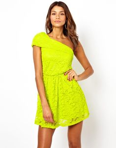 ASOS | ASOS Lace One Shoulder Skater Dress at ASOS
