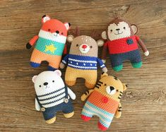 crochet pattern-5in1/fox/monkey/tiger/polarbear/deer/symbolpattern(PDF/ENG)