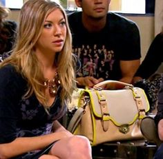 Stassi Schroeder's Tan Purse with Yellow Trim http://www.bigblondehair.com/reality-tv/vanderpump-rules-stassi-schroeders-tan-yellow-purse/