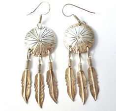 Sterling Silver Dreamcatcher Earrings Pierced Drop Dangle Feathers 925 Vintage  This is a pair of sterling silver pierced dangle dreamcatcher earrings.  They measure 3 inches by .88 inch, weigh 9.2 grams and are in excellent condition with no damage.   These earrings are handmade, no markings and test positive for sterling silver. in Jewelry & Watches, Vintage & Antique Jewelry, Vintage Ethnic/Regional/Tribal