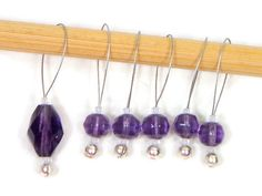 Grape Violet Purple Knitting Stitch Markers Beaded  by TJBdesigns
