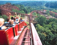 Kings Island. This is the Beast. It's the one of the longest wooden coasters in the world. As kids, we used to wait until dark to ride it so that we were in complete darkness the entire ride except at the top of both huge hills. This ride also has tunnels.
