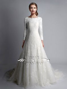 White Dress (Opaque Edit): Bateau Neckline; 3/4 Long Sleeves; A-line Silhouette; Full length