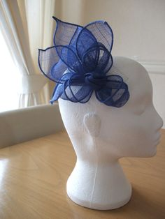 Cobalt Blue Knot and Sinamay Leaf Fascinator by joannelamacraft