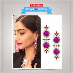 Stylish look! Bollywood actress #SonamKapoor looks stunning with this Purple & Red enamel earrings. This adds more attraction to her stunning look. (Image copyrights belong to their respective owners)