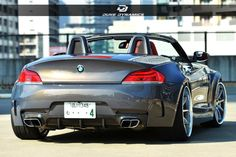 Vancouver-based aftermarket firm Duke Dynamics has introduced its latest styling project based on the BMW Z. Bmw Z1, Bmw Z4 Roadster, Dodge Charger Srt8, Bmw Motors, Wide Body Kits, Benz Car, Lamborghini Cars, Cool Cars, Dream Cars