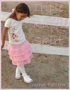 Triple Ruffle Skirt Crochet Pattern | YouCanMakeThis.com