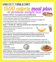 1500 calorie meal plan to promote weight loss based on personal experience :) contains gluten-free/dairy-free suggestions, as well!