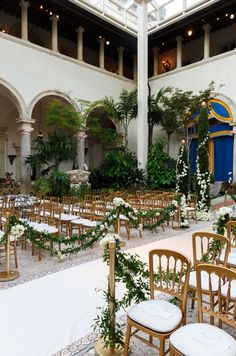 Side view of the ceremony just before guests arrive. Garden Wedding Decorations, Reception Decorations, Wedding Looks, Gold Wedding, Wedding Designs, Wedding Ideas, Aisle Runner Wedding, White Carpet, Space Wedding