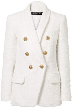 464ad0f5 Balmain - Double-breasted Bouclé-tweed Blazer - White There's no arguing  that a