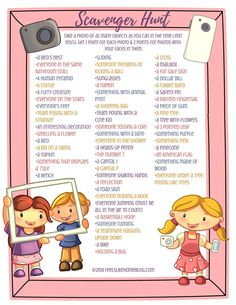 Photo Scavenger hunt for Kids, Tweens, Teens, & Adults - This awesome list includes both indoor and Teen Scavenger Hunt, Outdoor Scavenger Hunts, Scavenger Hunt Birthday, Photo Scavenger Hunt, Home Games For Kids, Activities For Kids, Indoor Family Activities, Picnic Activities, Daily Activities