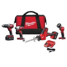 """The 2695-24 M18 Cordless 4-Tool Combo Kit includes the M18 1/2"""" Hammer Drill / Driver (2607-20) M18 HACKZALL One- Handed Recip Saw(2625-20) M18 1/4"""" Hex Impact Driver (2656-20) and M18 Work Light (2735-20). The M18 Cordless LITHIUM-ION System's patented technologies and electronics innovative motor design and superior ergonomics provide the most efficient blend of power weight and performance in the industry. Powered by RED LITHIUM the M18 cordless system delivers more torque more power and…"""