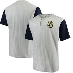 San Diego Padres Majestic Big & Tall Life or Death Pinstripe Henley T-Shirt - Gray/Navy