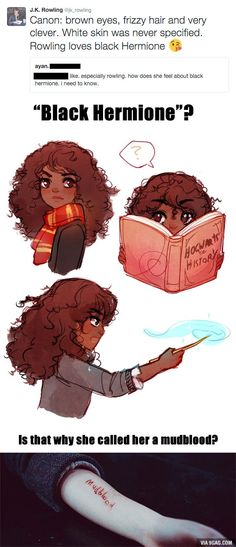 "J.K. Rowling ""loves black Hermione"" - 9GAG"