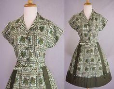 Vintage 1950s Postage Stamp Lucy Day Dress M- madvintage (sold)
