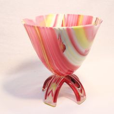 Fused glass on-foot drop-out vessel. Pink Yellow by RamizGlass