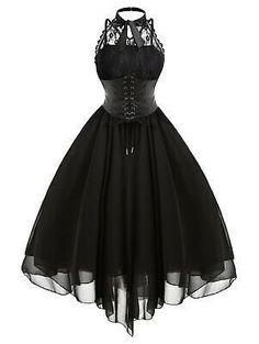 Gothic Corset Dresses, Lace Corset, Lace Dress, Lace Chiffon, Sexy Dresses, Cute Dresses, Vintage Dresses, Robe Swing, Swing Dress