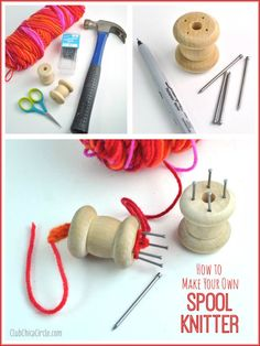 How to Make Your Own Spool Knitter tutorial- repurpose wooden spoolIt is so easy to make your own spool knitter with nails and a wood spool. Then all you need is some pretty yarn and one more nail as your knitting needle to spool knit. Spool Crafts, Dyi Crafts, Wire Crafts, Sewing Crafts, Spool Knitting, Loom Knitting Patterns, Lucet, Wood Spool, Make Your Own