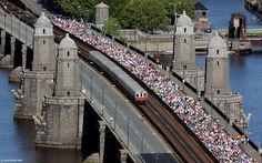 Charity run across the Longfellow Bridge between Boston and Cambridge, MA.