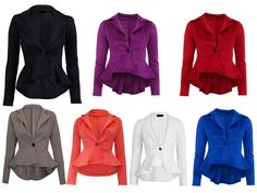Womens Crop Frill Shift Slim Fit Peplum Blazer Jacket Coat Ladies Size 8-24 #Unbranded