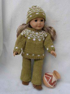 "... Knit Sweater & Cap set for American Boy/Girl Dolls & 18"" Gotz Dolls"