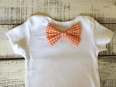 Orange Gingham Baby Bowtie on Onesie  Baby Boy by Adelaesfashions