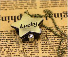 """Orologio portafortuna a forma di stella in color bronzo, con scritta """"lucky"""" come portafortuna Vintage Watch, colore: bronze - 12€+spese di spedizione"""