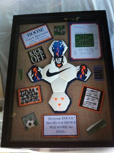 I also did this in Auburn colors since he and his family are huge AU fans. for boyfriend soccer Soccer Coach Gifts, Sports Gifts, Team Gifts, Sports Decor, Guy Gifts, Boyfriend Anniversary Gifts, Birthday Gifts For Boyfriend, Boyfriend Gifts, Anniversary Ideas
